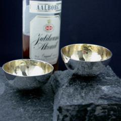 Supkoppar i silver med förgylld insida.
