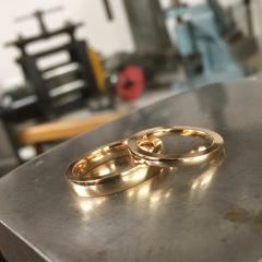 Vigselringar i 18k rött guld.